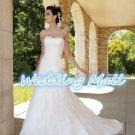 A-Line Strapless Floor Length Ruched Organza Train Taffeta Plus Size White Wedding Dress