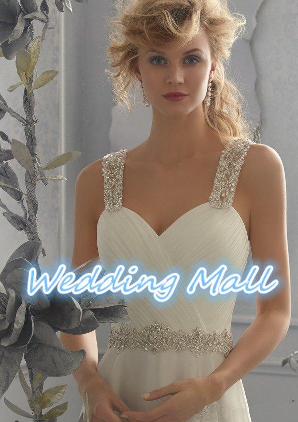 Fashionable Wedding Dress Chiffon Luxury Beaded Crystal Spaghetti Straps A-Line Wedding Dress