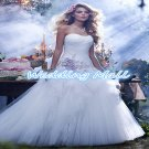 Custom Made Dress Elegant A-Line Sweetheart Floor Length Ruched Tulle Flower White Wedding Dress