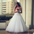 Sweetheart Romantic White Sexy Long A-Line Wedding Dress Crystals Beadings Wedding Dress