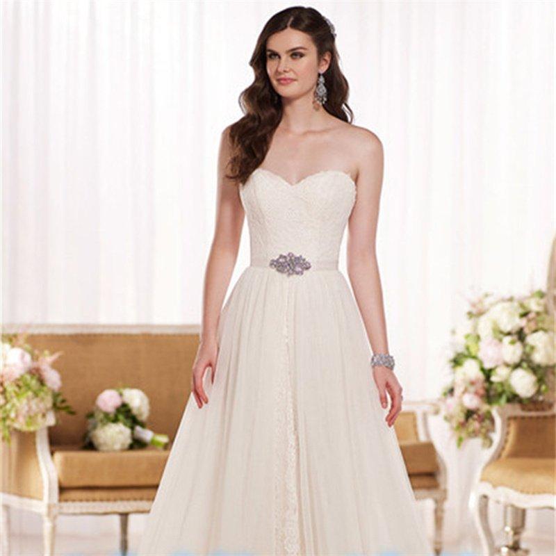New Bride Dress Thin Waist Ivory Sweetheart Backless Lace A-Line Custom Bride Wedding Dresses