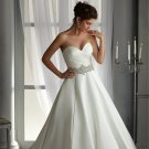New Bride Dress Fashion Sweetheart Backless Ivory Satin Long A-Line Custom Bride Wedding Dress