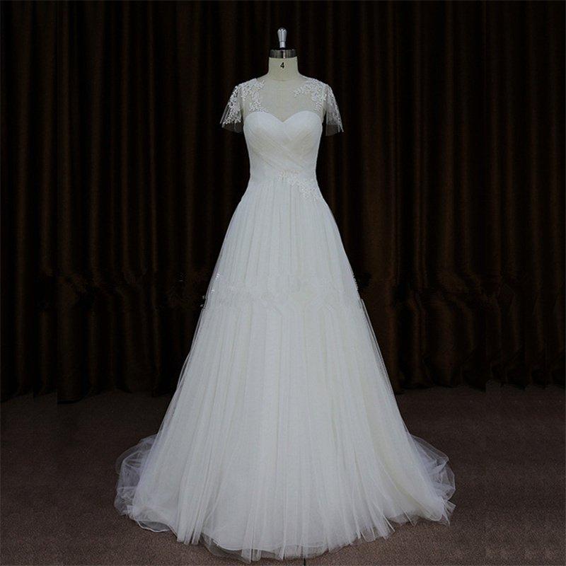 Custom Size Long Wedding Dresses White Backless Tulle A-Line Fashion Wedding Dress