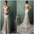 Sexy Backless Custom Size Lace Wedding Dress V-neck Appliques Mermaid Long Train Wedding Dress