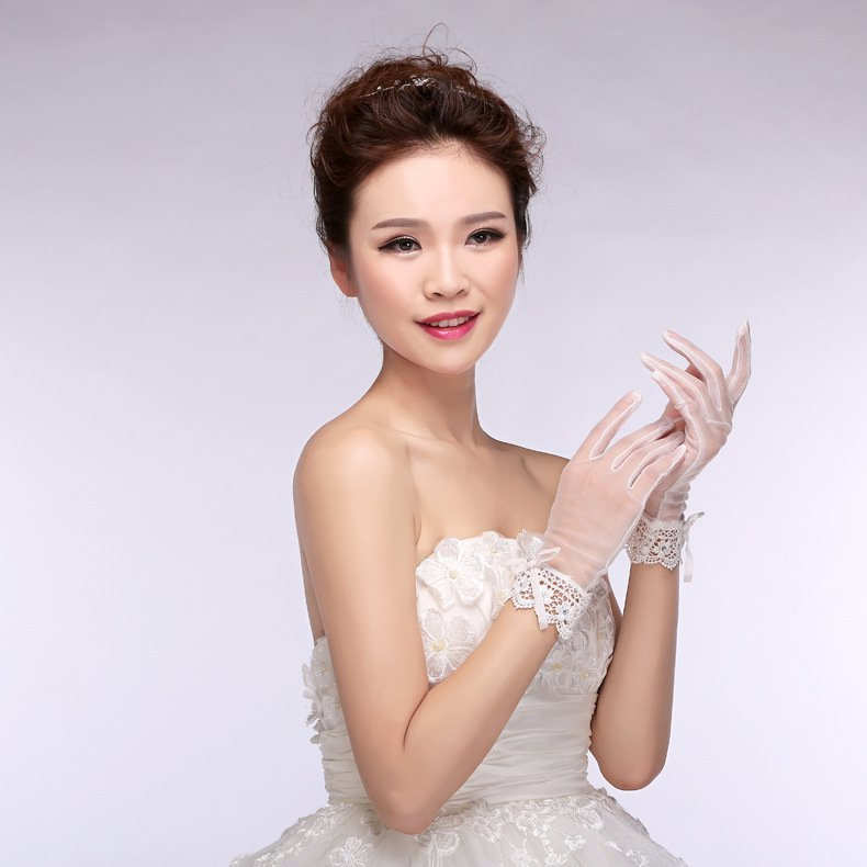 Korean chiffon lace bridal gloves married short paragraph white Wedding Accessories