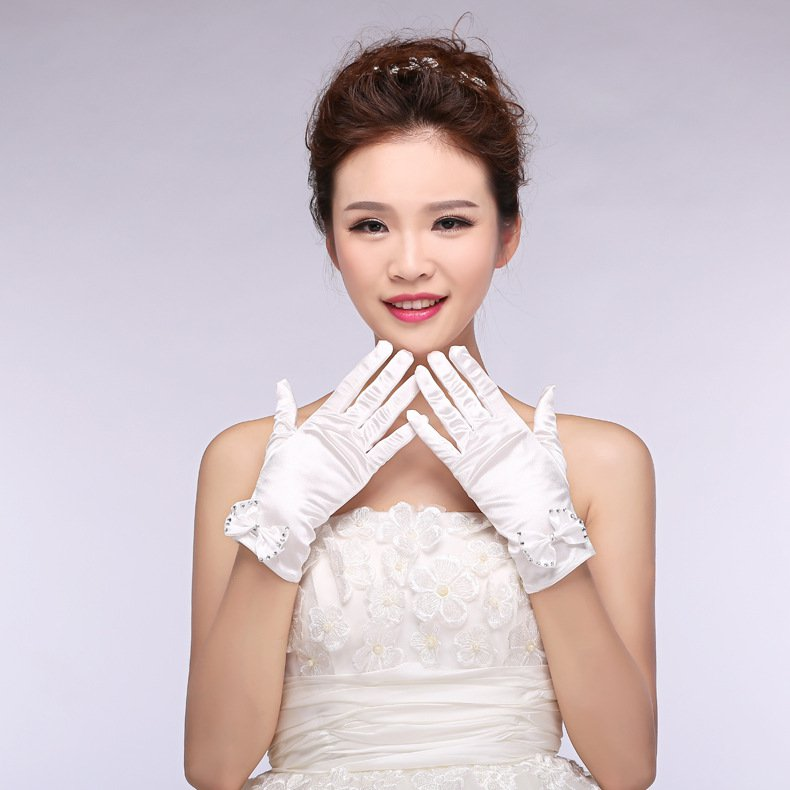 bride wedding bridal lace chiffon short paragraph Spring Wedding Gloves white accessories
