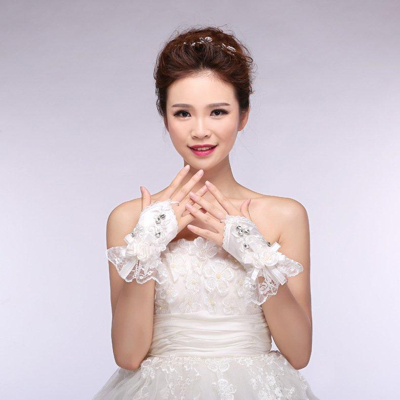 bridal lace bow spring summer chiffon short paragraph wedding gloves white Wedding Accessories