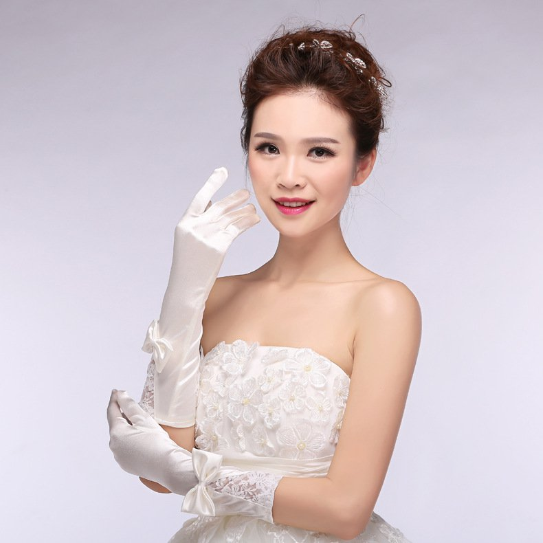 New Korean spring and summer chiffon lace bridal gloves wedding gloves short paragraph wedding