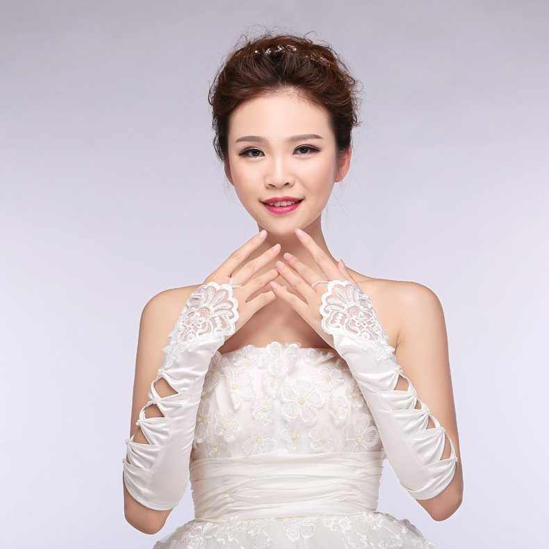 new chiffon lace bridal gloves married white long section of the spring and summer accessories