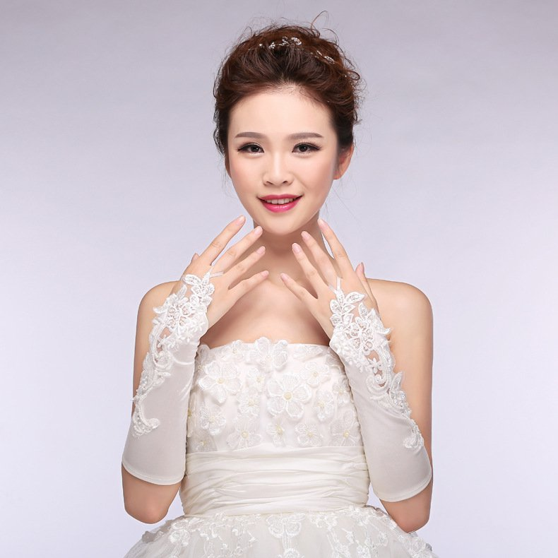 New bride wedding gloves bridal lace short paragraph wedding gloves white accessories