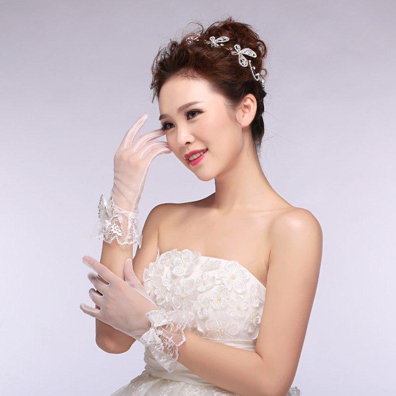 New Korean version bride wedding gloves bridal lace chiffon short paragraph white wedding gloves