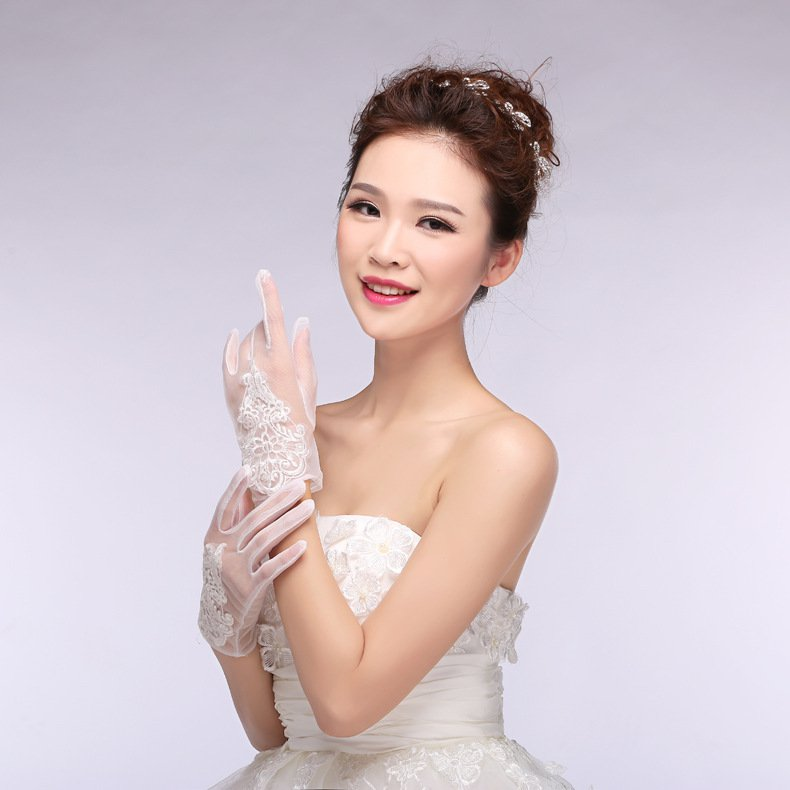 New Korean version spring summer bridal lace chiffon short paragraph bride married white gloves