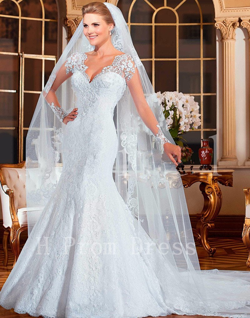 2016 High Quality Lace Wedding Dress Romantic White Long Sleeve Sexy V-neck Mermaid Wedding Dress