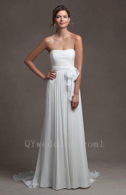 Cheap Long Wedding Dress Chiffon A-Line Backless White Sweetheart Custom Size Long Wedding Dress