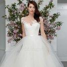 Sexy A-Line Cap Sleeve Scoop Long Elegant Custom Size Bride Dress White Lace Wedding Dresses