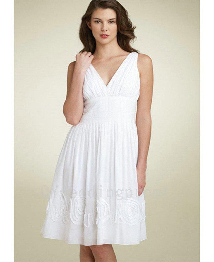 Custom Made Short Backless Wedding Dress Sexy V-neck Romantic Chiffon White A-Line Bridal Gowns