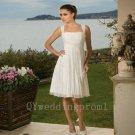Fashion White Short Wedding Dress Chiffon Spaghetti Straps A-Line Knee-Length Wedding Dress