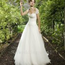 Sweetheart Backless A-Line Pearls Bridal Dress Fashion Beaded Crystal White Long Wedding Dress