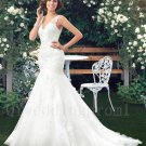 Plus Size Mermaid Sexy V-neck Long White Lace V-neck Long Train Backless Bridal Wedding Dress