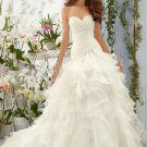 Long Elegant Sweetheart White Organza Mermaid Wedding Dress Ruffles Lace Up Bride Dresses