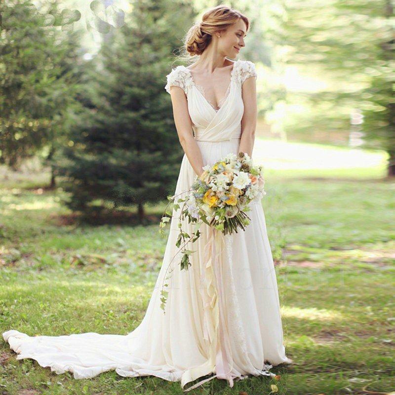 Sexy V-neck Tulle Wedding Dress Appliques Long White Ivory Cap Sleeve Romantic A-Line Wedding Dress
