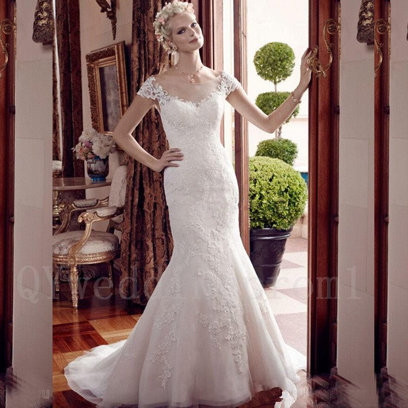 Sexy Backless White Lace Wedding Dress New Style Cap Sleeve Mermaid Long Train Wedding Gowns