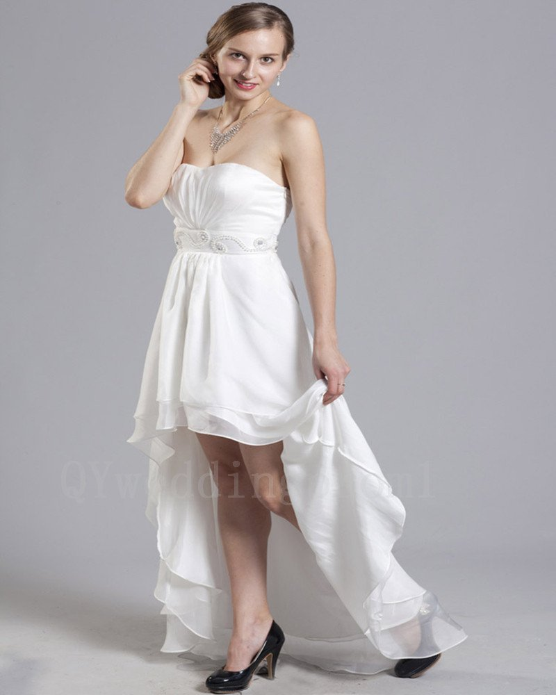 Plus Size White High-Low Wedding Dress Pearls Crystals Chiffon Sweetheart Romantic Bride Dresses