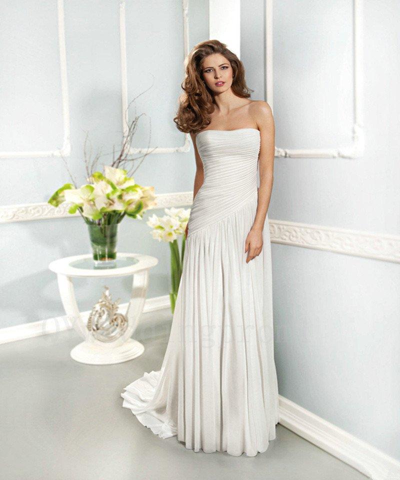 White Long Wedding Dress Chiffon Sexy A-Line Backless Fashionable Floor-Length Wedding Dress