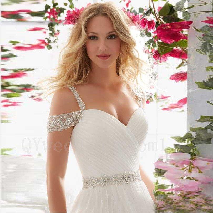 Sexy Backless Long Elegant White Floor-Length Spaghetti Straps A-Line Wedding Dress Bridal Dress