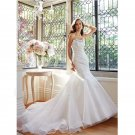 Plus Size Strapless Floor Length Ruched Beads Appliques Organza White Mermaid Wedding Dress Bride