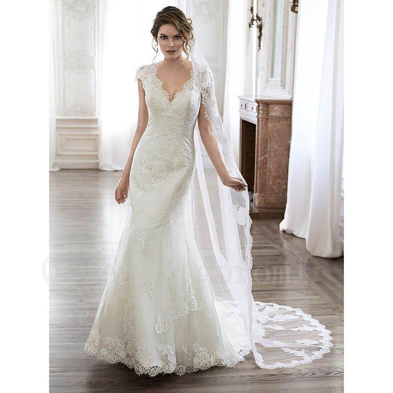 Lace White Sexy Backless Wedding Dress Mermaid Cap Sleeve V-neck Long Wedding Dresses