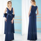 New A-Line V-neck Chiffon Navy Blue Long Mother of the Bride Dresses Gown For Wedding
