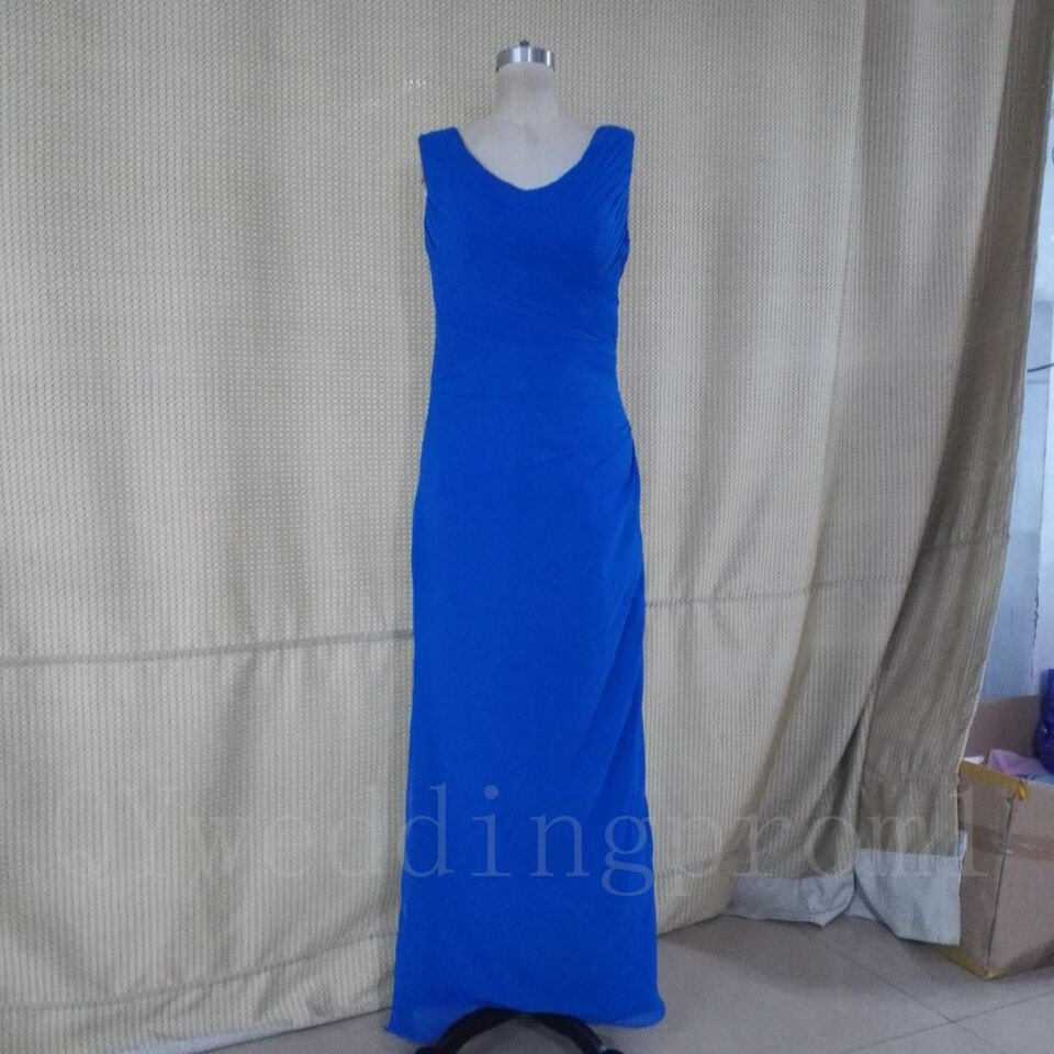 Long Mother Of The Bride Elegant Blue Chiffon A-Line V-neck Cap Sleeve Dresses For Wedding