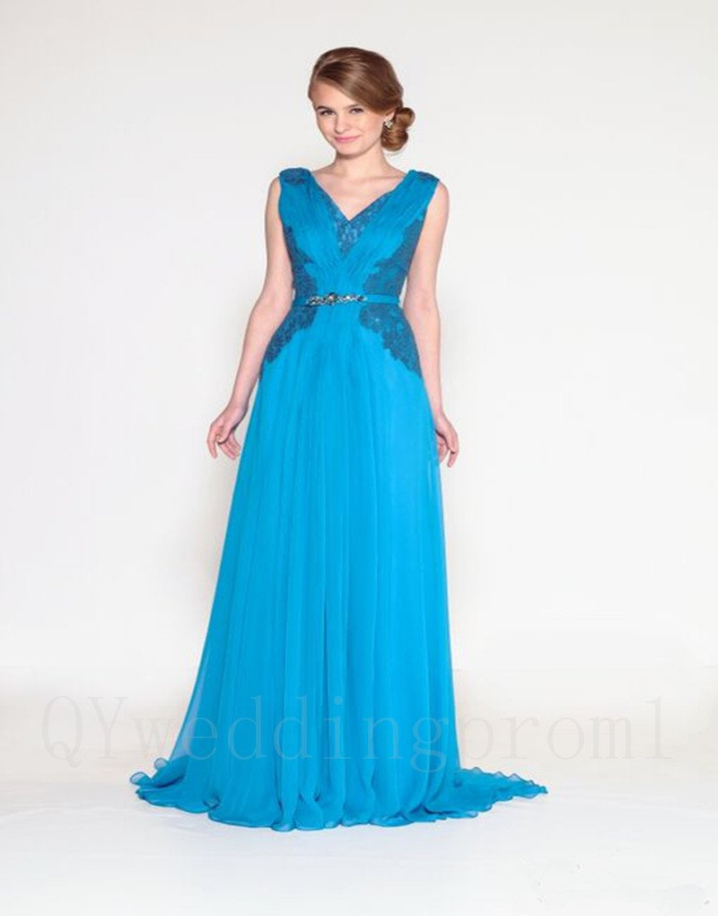 New Sexy V-neck Appliques Chiffon A-Line Blue Long Mother of the Bride Dresses Gown For Wedding
