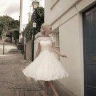 Sexy A-Line Knee-Length Ivory Short Wedding Dress 2016 Cap Sleeve Wedding Dress