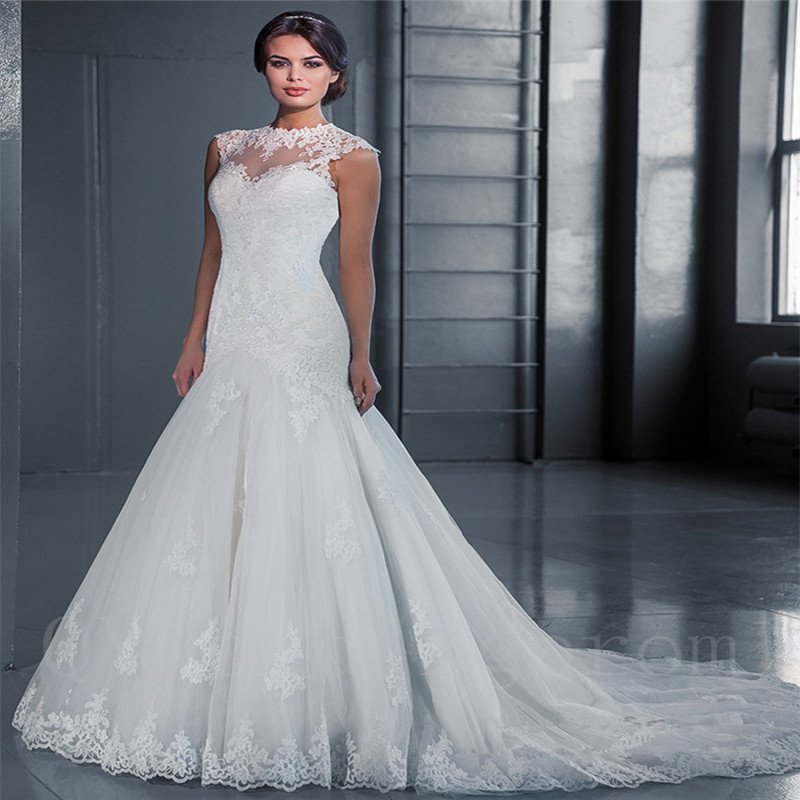 White Lace Wedding Dress 2016 New Floor Length Mermaid Lace Wedding Dress