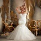 Sexy Backless Long Sleeve Sweetheart Beads Crystal Elegant White Mermaid Lace Wedding Dress