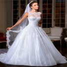 Sexy Wedding Dress Beadings Crystals Backless A-Line Floor Length White Wedding Dress Gowns