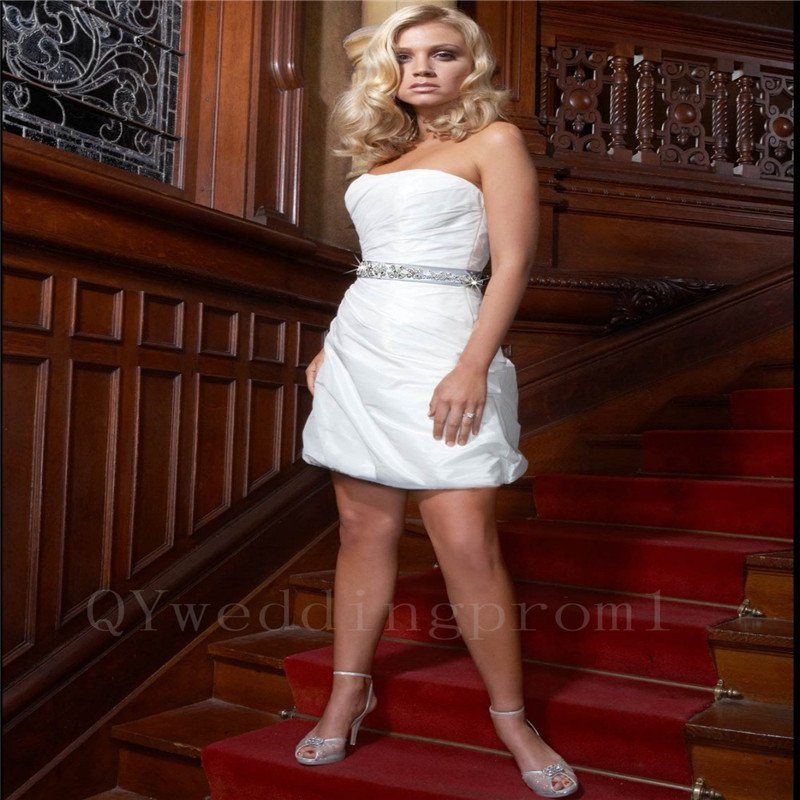 Fast Shipping Sexy Short Wedding Dress Pearls A-Line Romantic Cheap White Backless Wedding Dress