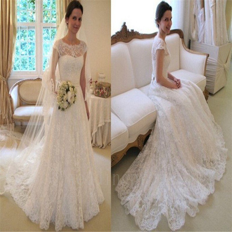 Back White Lace Long Train Wedding Dress 2016 New Style Scoop Cap Sleeve A-Line Wedding Gowns