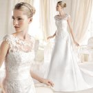 Sexy Backle A-Line With Long Train Wedding Dress New Style Scoop Appliques White Wedding Gowns
