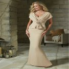 New Sleeve Long Champagne Satin Mermaid Mother Of The Bride Pant Suits Formal Dresses For Wedding