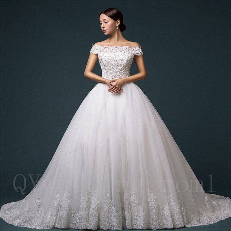 High Quality Party Dress A-Line Boat Neck Floor Length 2016 Long Lace Wedding Dresses