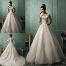 Long Sleeve Wedding Dress New Appliques Romantic White Ivory Sexy Lace Wedding Dress A-Line Gown
