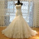 Sexy Long White Tulle Mermaid Wedding Dress Sweetheart Beadings Appliques Lace Up Wedding Gown
