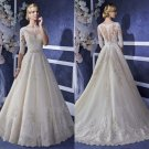 See Through Back Lace Wedding Dresses A-Line Scoop White Romantic Long Wedding Dress Bride Dresses