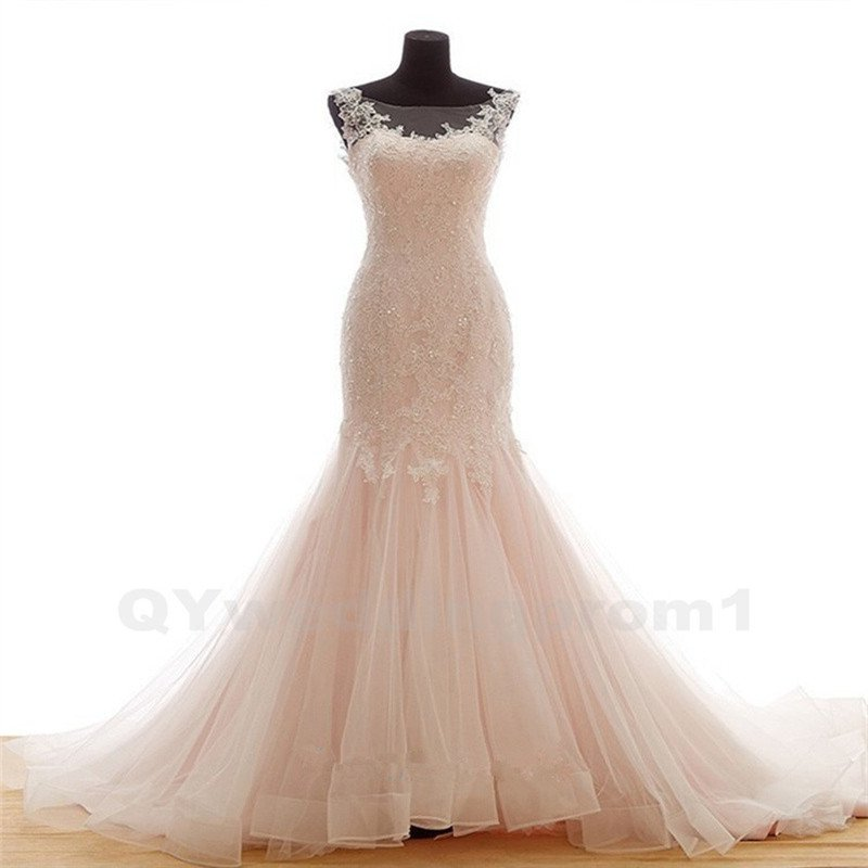 Real Sample Wedding Dress New Designer Sexy Scoop Sleeveless Pink Mermaid Lace Wedding Dress