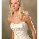 Wedding Dress Embroidery Strapless Satin Sleeveless Fashionable Backless White Long Wedding Dress