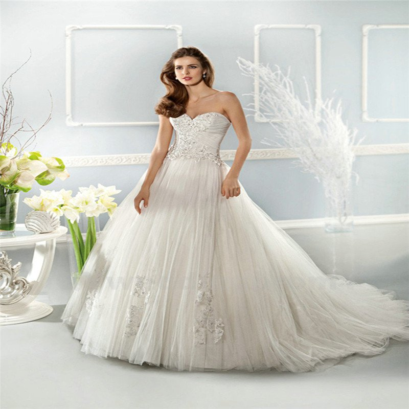 White Long Wedding Dress Pearls Crystals Tulle Sexy A-Line Fashionable Floor Length Wedding Dress