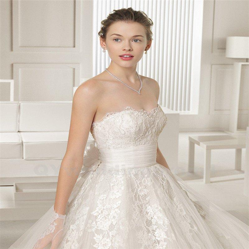 Backless Satin Wedding Dress White High Quality A-Line Wedding Dress